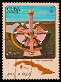 CUBA - CIRCA 1983: A stamp printed in the CUBA, image Faros de Cuba, faro Carapachibey, circa 1983 — Stock Photo