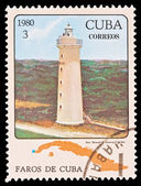 CUBA - CIRCA 1980: A stamp printed in the CUBA, image Faros de Cuba, faro Roncali S.Antonio, P.del Rio, circa 1980 — Stock Photo