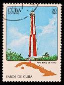 CUBA - CIRCA 1983: A stamp printed in the CUBA, image Faros de Cuba, faro Bahia de Cadiz, circa 1983 — Stock Photo