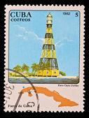 CUBA - CIRCA 1982: A stamp printed in the CUBA, image Faros de Cuba, faro Cayo Jutias, circa 1982 — Stock Photo
