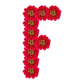 Letter F from red flowers — Stock Photo