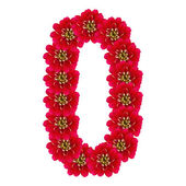 Letter O from red flowers — Stock Photo
