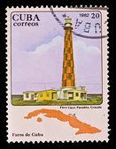 CUBA - CIRCA 1982: A stamp printed in the CUBA, image Faros de Cuba, faro Cayo Paredon Grande, circa 1982 — Stock Photo