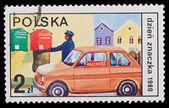Polonya - circa 1980: damga basılmış polonya, circa 1980 görüntü dzien znaczka — Stok fotoğraf