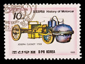 DPR KOREA - CIRCA 1985: a stamp printed by DPR Korea , images motorcar, Joseph Cugnot 1769. Circa 1985 — Stock Photo