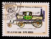 DPR KOREA - CIRCA 1985: a stamp printed by DPR Korea , images motorcar,Goldsworthy Gurney 1825. Circa 1985 — Stock Photo