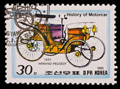 DPR KOREA - CIRCA 1985: a stamp printed by DPR Korea , images motorcar, Armand Peugeot 1891. Circa 1985 — Stock Photo