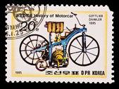 DPR KOREA - CIRCA 1985: a stamp printed by DPR Korea , images motorcar,Gottlieb Daimler 1885. Circa 1985 — Stock Photo