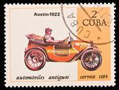 Kuba - około 1984: znaczek wydrukowany w Kuba, obraz starego samochodu, automoviles antiguos austin 1922, około 1984 — Zdjęcie stockowe