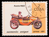 Kuba - circa 1984: en stämpel tryckt i Kuba, bild gamla bil, automoviles antiguos austin 1922, circa 1984 — Stockfoto