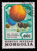 MONGOLIA - CIRCA 1982: A stamp printed in the Mongolia, shows Balloon The First Gordon Bennett Race in Paris 1906, circa 1982 — Stock Photo