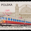 Republic of Poland - CIRCA 1957: A stamp printed in the Republic of Poland, Elektryfikacja linii Warszawa-Slask, circa 1957 — Stock Photo #28001731