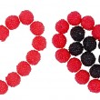 Raspberry and blackberry, two hearts — Stock Photo