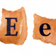 Header and capital letter E on the old paper — Stock Photo