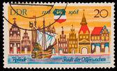 FEDERAL REPUBLIC OF GERMANY - CIRCA 1968: A stamp printed in the Federal Republic of Germany shows Roslook Stadt der Ostfeewocben, circa 1968 — Stock Photo