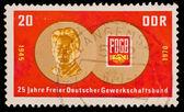 FEDERAL REPUBLIC OF GERMANY - CIRCA 1970: A stamp printed in the Federal Republic of Germany shows Jahre Freier Deutscher Gewerkschaftsbund, circa 1970 — Stock Photo