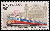 Republic of Poland - CIRCA 1957: A stamp printed in the Republic of Poland, Elektryfikacja linii Warszawa-Slask, circa 1957 — Stock Photo