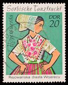 FEDERAL REPUBLIC OF GERMANY - CIRCA 1970: A stamp printed in the Federal Republic of Germany shows Sorbische Tanztracht Hoyerswerda Rejowanska drasta Wojerecy, circa 1970 — Stock Photo