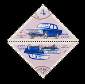 USSR - CIRCA 1971: A stamp printed in the USSR, shows old car Moscvich -412, circa 1971 — Stock Photo