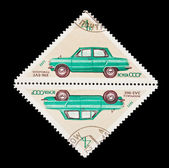 USSR - CIRCA 1971: A stamp printed in the USSR, shows old car Zaporozhetz ZAZ-968, circa 1971 — Stock Photo