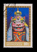 MONGOLIA - CIRCA 1981: A stamp printed in the MONGOLIA, shows Cham Dance, masks, circa 1981 — Stock Photo