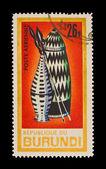 REPUBLIQUE DU BURUNDI - CIRCA 1981: A stamp printed in the REPUBLIQUE DU BURUNDI , shows Spears and helmets, circa 1981 — Stock Photo