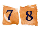 7 and 8 number A on the old paper — Stock Photo