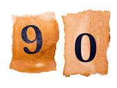 9 と 0 の番号、古い紙の上 — ストック写真