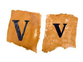 V encabezado y mayúscula en el papel antiguo — Foto de Stock