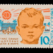USSR - CIRCA 1963: A stamp printed in the USSR, shows most healthy children in the world,   circa 1963 — Zdjęcie stockowe