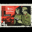 "USSR - CIRCA 1966: A stamp printed in the USSR shows The Soviet cinema ""Live and dead"", circa 1966 — Lizenzfreies Foto"