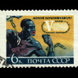 USSR - CIRCA 1961: A stamp printed in the USSR shows Down with colonialism the World congress of trade unions, circa 1961 — Stock Photo