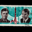 "USSR - CIRCA 1974: A stamp printed in the USSR shows V.G.Lazarev O.G.Makarov ""Souz-12"", circa 1974 — Stock Photo"