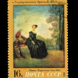 Stock Photo: USSR - CIRC1972: stamp printed in USSR shows state Hermitage Leningrad Vatto Capricious, circ1972