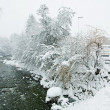 Stock Photo: Snow-covered river, snowfall, Kirhberg, Austria, Tirol