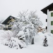 The snow-covered street Kirhberg, Austria, Tirol, snowfall — Stock Photo