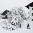 Stock Photo: The snow-covered street Kirhberg, Austria, Tirol, snowfall