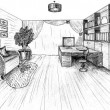 Stock Photo: Graphical sketch of interior apartment