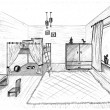 Children's room graphical sketch of an interior — Stock Photo