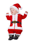 The sleeping kid in a suit of Santa Claus on a white background — Stock Photo
