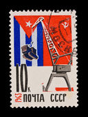 USSR - CIRCA 1963: A stamp printed in the USSR, shows hoisting crane, circa 1963 — Stock Photo