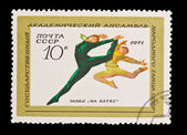 USSR - CIRCA 1971: A stamp printed in the USSR, shows The state academic ensemble of national dance of the USSR Dance on a skating rink, circa 1971 — Stock Photo