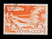 USSR - CIRCA 1969: A stamp printed in the USSR, Parachuting sport, circa 1969 — Stockfoto