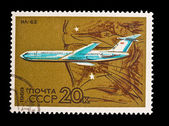 USSR - CIRCA 1969: A stamp printed in the USSR, shows airplane IL-62, circa 1969 — Стоковое фото