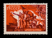 USSR - CIRCA 1969: A stamp printed in the USSR, shows The 25 anniversary of clearing of Nikolaev, circa 1969 — Photo