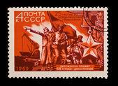 Udssr - circa 1969: eine briefmarke in der udssr gedruckt, zeigt die 25 jahrestag der clearing von nikolaev, circa 1969 — Stockfoto
