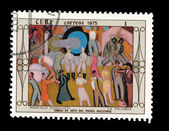 CUBA - CIRCA 1975: A stamp printed in the CUBA, shows Marcelo Pogolotti La Palabra Obras de arte del museo nacional, circa 1975 — Stock Photo