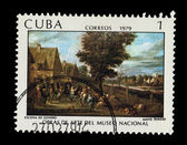 CUBA - CIRCA 1979: A stamp printed in the CUBA, shows Escena de Genero David Teniers Obras de arte del museo nacional, circa 1979 — Stock Photo