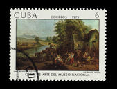 CUBA - CIRCA 1979: A stamp printed in the CUBA, shows Una Reunion Festival Sir David Wilkie Obras de arte del museo nacional, circa 1979 — Stock Photo