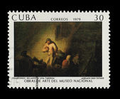 CUBA - CIRCA 1979: A stamp printed in the CUBA, shows Campesinos Delante Una Taberna Adriaen Van Ostade Obras de arte del museo nacional, circa 1979 — Stock Photo